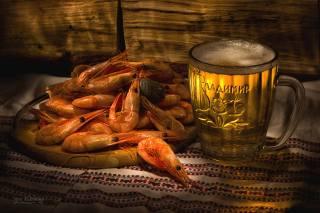 раки, пиво, именная кружка