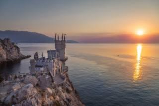 природа, пейзаж, горы, море, скала, восход, замок, рассвет, утро, Крым, ласточкино гнездо, черное море