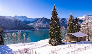 nature, landscape, winter, snow, trees, Forest, mountains, the lake, ate, Italy, hut, the house
