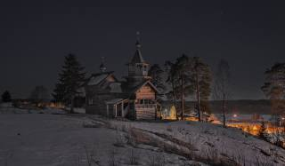 Сергей Гармашов, карелія, природа, зима, сніг, село, церква, дерева, сосни, їли, ніч, небо, зірки