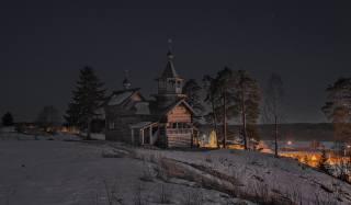 Сергей Гармашов, Karelia, nature, winter, snow, the village, the Church, trees, pine, ate, night, the sky, stars