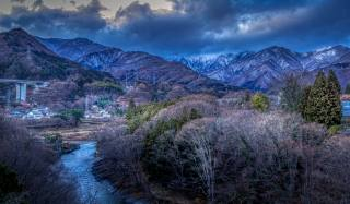 Japan, mountains, river, Gunma, trees, nature