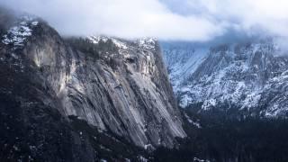 гори, сніг, скелі, долина