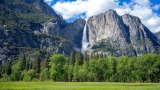 водоспад, краєвид, Йосемити, трава, скеля, Каліфорнія, природа
