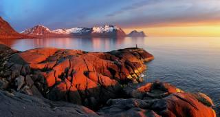 Норвегія, Лофотенські острови, гори, затока, природа