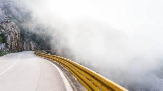 cesta, hora, mlha