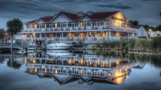 ночь, дом, река, отражение воды, лодка, освещение