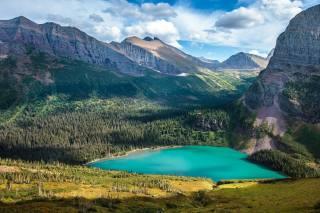 льодовик, Національний Парк, Grinnell Lake, гори, озеро, дерева, небо, хмари, природа, краєвид