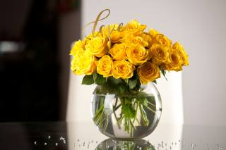 bouquet, rose, vase, yellow