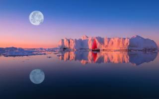 північ, айсберги, червоні вітрила, місяць
