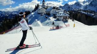 Італія, гори, альпи, природа, краєвид, вдома, курорт, сніг, дівчина, лыжница