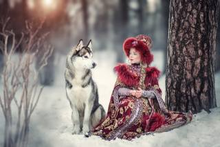 Ярослава Громова, ребёнок, девочка, коса, наряд, костюм, Животное, собака, пес, природа, дерево, ствол, КУСТЫ, зима