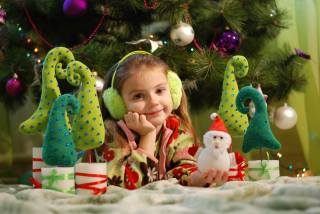 child, girl, holiday, New year, Christmas, tree, Toys