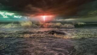 стихия, океан, небо, шторм, гроза