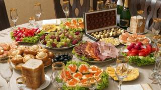 stůl, сервированный, Nový rok, občerstvení