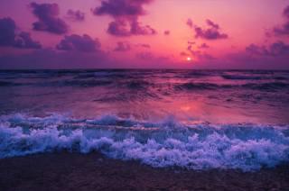 západ slunce, moře, vlny, surfování