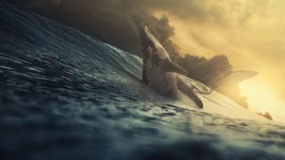 keith, vlny, 3d, art, velryby