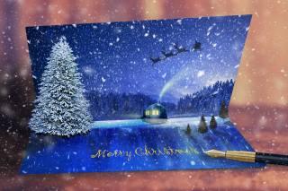 krajina, pohlednice, Vánoce, фотоманипуляця