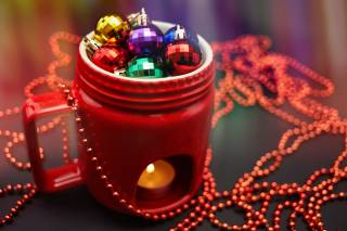 Cup, Candle, balls, holiday