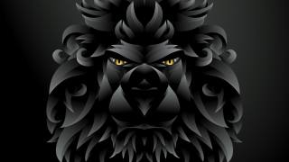 арт, лев, фэнтези, темный фон