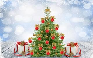 vánoční strom, dárky, art