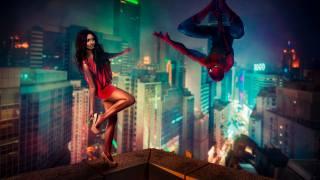 Spider-Man, girl, city, twilight