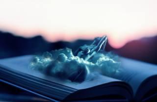 облака, девушка, книга, фотоманипуляция