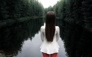 девушка, природа, лес