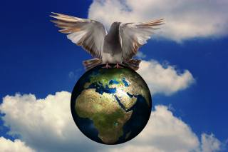 dove, the globe, the sky, clouds, world