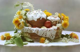 EGGS, cakes, dandelions, cherry, basket, Easter