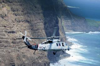 Helicopter, rock, coast, flight