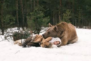 winter, forest, snow, girl, bear