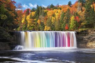 landscape, waterfall, barcode