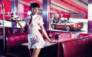 kavárna, coca-cola, Vlajka, stroj, dívka, Okna