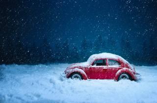 Автомобіль, ретро, зима, сніг, снігопад, вінтаж, Червоний, Старий