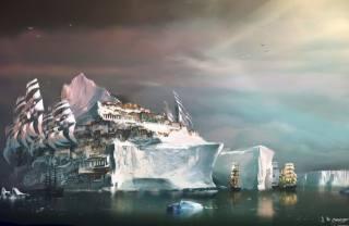 фентезі, айсберг, кораблі