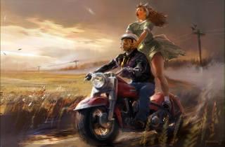 поле, мотоцикл, арт