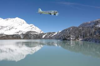 the plane, dc-3, water, mountains, landing