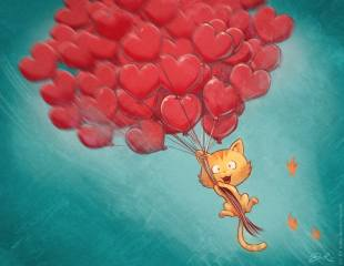 cat, balloons, heart, flight, the sky, art