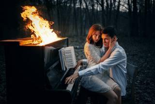 девушка, парень, огонь, Альберт Лесной