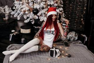 women, redhead, Santa hats, tattoo, Christmas tree, long hair, brunette, smiling, panties, white stockings