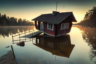 the lake, Wooden house, trees, morning, sunrise