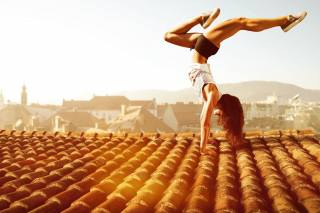 gymnastics, brown hair, roof, training, girl