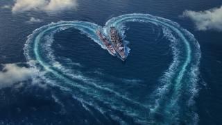 sea, ships, weapons, fantasy, heart