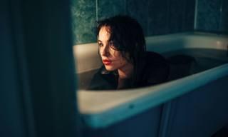 girl, brunette, bathroom
