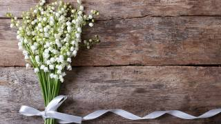 lilies of the valley, bouquet, tape, White, Board, wall