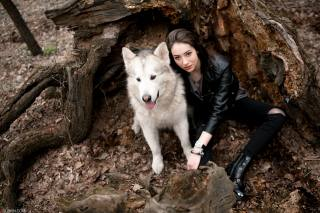girl, dog, in the forest, mood, in nature