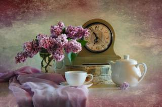 books, watch, Cup, kettle, bouquet, branches, lilac, still life, fabric, still life