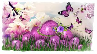 graphics, holiday, Easter, EGGS, branches, flowers, grass, eggs, butterfly