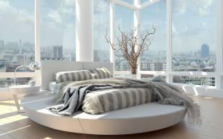 комната, спальня, кровать, окна, ваза, ветки